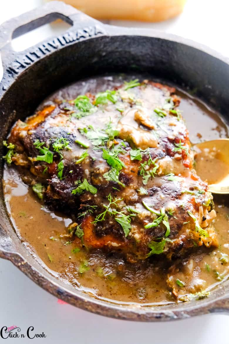 chicken Francese recipe served in cast iron pan