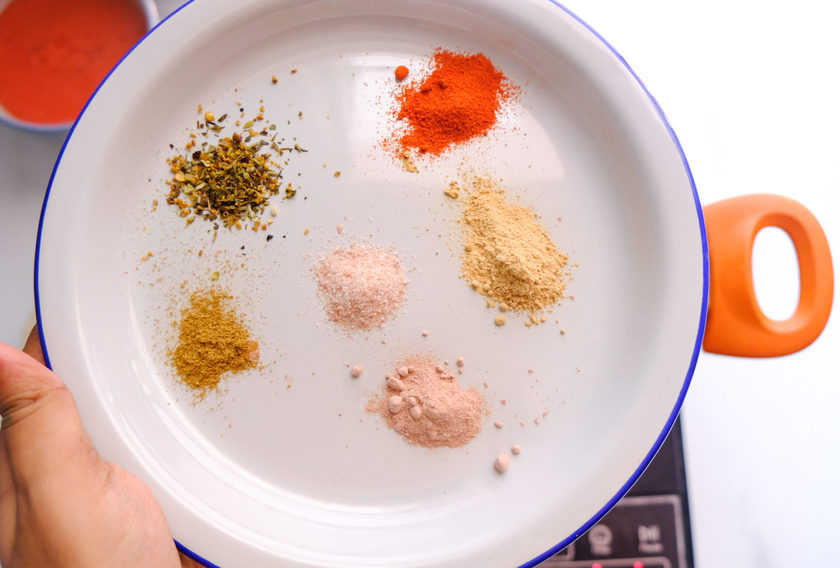 close up shot of a plate of spices