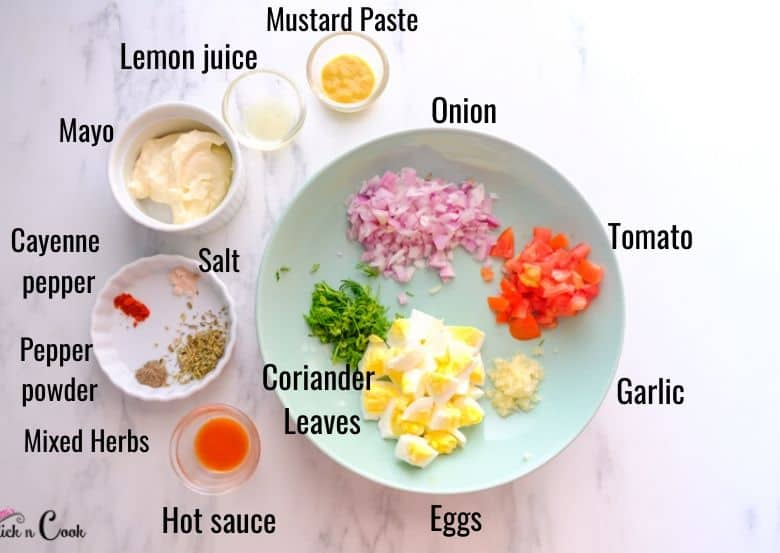 ingredients to make eggs salad are taken in bowls