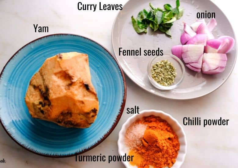 ingredients to make yam are taken in small plate