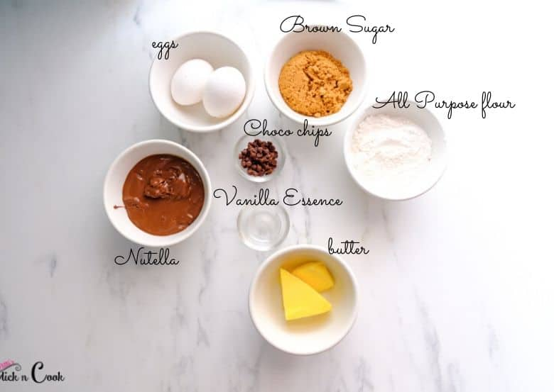 brown sugar, eggs, butter,nutella are in white bowls