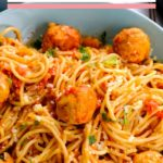 spaghetti and meatballs served in bowl
